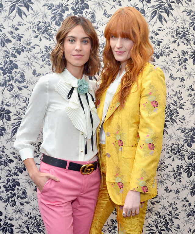 Alexa Chung and Florence Welch attend Gucci Timepieces and Jewelry announces Florence Welch as 2016 Brand Ambassador on February 12, 2016 in Los Angeles, California.