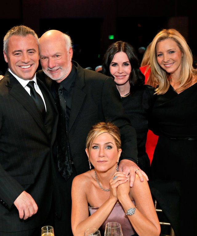 AN ALL-STAR TRIBUTE TO JAMES BURROWS -- Pictured: (l-r) David Schwimmer, Matt LeBlanc, James Burrows, Jennifer Aniston, Courteney Cox, Lisa Kudrow