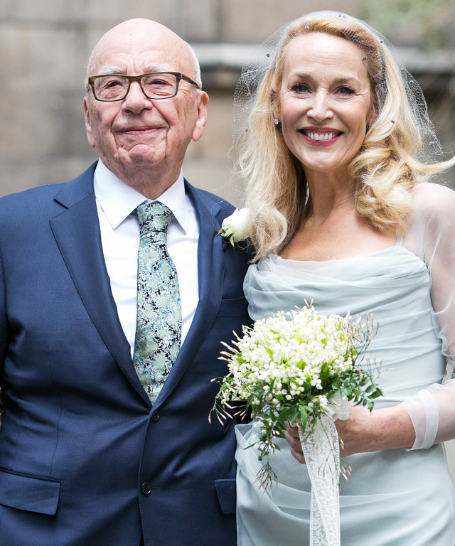 Rupert Murdoch and Jerry Hall seen leaving St Brides Church after their wedding on March 5, 2016 in London, England.