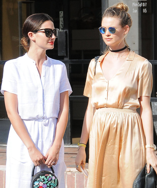 Victoria Secret Models Lily Aldridge and Behati Prinsloo are spotted out shopping in West Hollywood, California on April 5, 2016. The pair stopped by Bel Bambini to buy some baby items for Behati who's pregnant with her first child, with husband Adam Levi