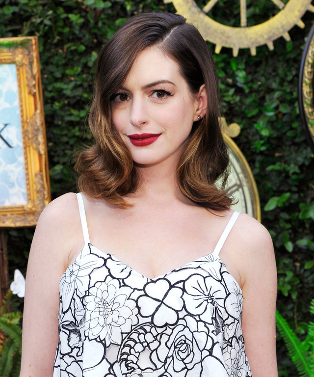 Actress Anne Hathaway attends Disney's Alice Through the Looking Glass event on May 12, 2016 at Roseark in Los Angeles California. Top designers showcased whimsical fashions, accessories and beauty collections inspired by the upcoming film.