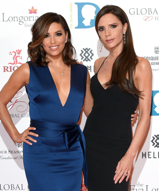Eva Longoria and Victoria Beckham attend The Global Gift Gala at Four Seasons Hotel on November 30, 2015 in London, England.