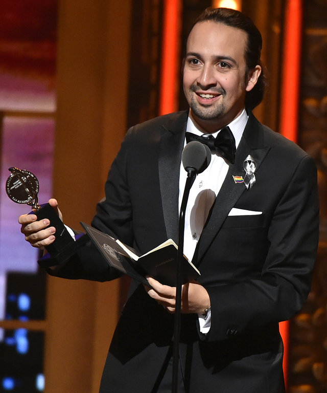 Songwriter Lin-Manuel Miranda accepts the award for Best Book of A Musical for 'Hamilton' onstage during the 70th Annual Tony Awards at The Beacon Theatre on June 12, 2016 in New York City.