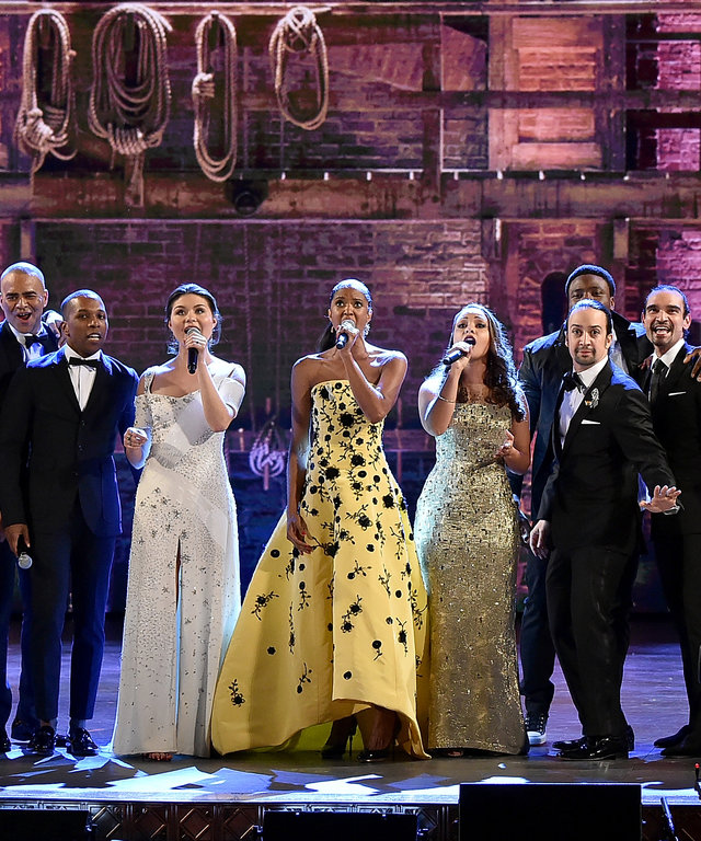 """2016 Getty ImagesNEW YORK, NY - JUNE 12: The cast of """"Hamilton"""" performs onstage during the 70th Annual Tony Awards at The Beacon Theatre on June 12, 2016 in New York City.  (Photo by Theo Wargo/Getty Images for Tony Awards Productions)"""