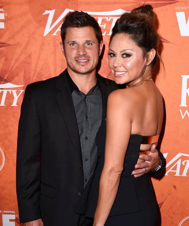 WEST HOLLYWOOD, CA - SEPTEMBER 18:  Nick Lachey and Vanessa Lachey arrives at the Variety And Women In Film Annual Pre-Emmy Celebration at Gracias Madre on September 18, 2015 in West Hollywood, California.  (Photo by Steve Granitz/WireImage)
