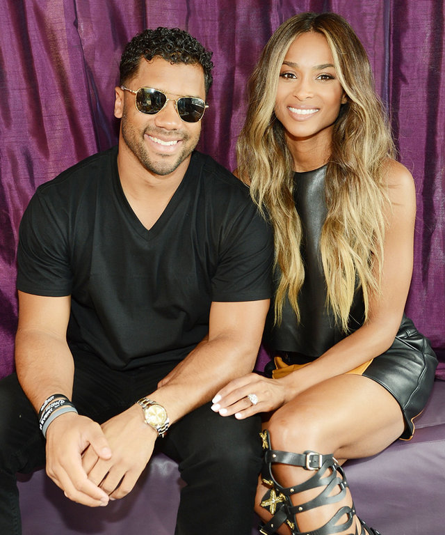 LAS VEGAS, NV - MARCH 19:  NFL player Russell Wilson (L) and Ciara attend the season grand opening of the Marquee Nightclub at The Cosmopolitan of Las Vegas on March 19, 2016 in Las Vegas, Nevada.  (Photo by Denise Truscello/WireImage)