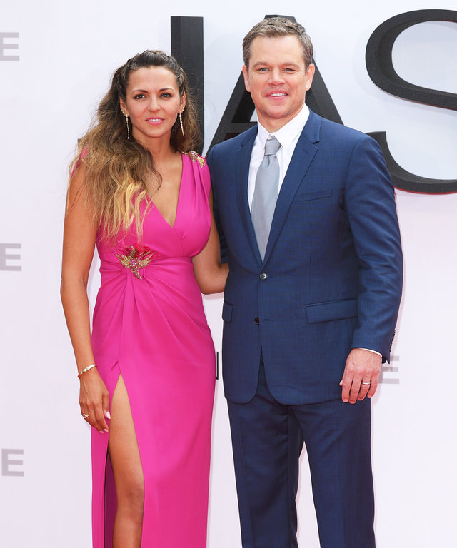 """LONDON, ENGLAND - JULY 11:  Luciana Barroso and Matt Damon arrive for the European premiere of """"Jason Bourne"""" at Odeon Leicester Square on July 11, 2016 in London, England.  (Photo by Karwai Tang/WireImage)"""