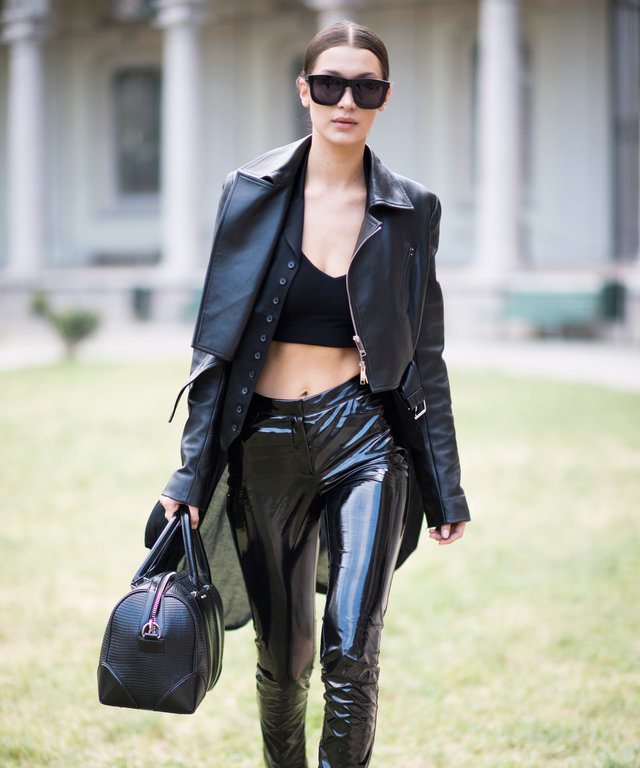 Bella Hadid Turns Heads in an Ab-Baring Crop Top and Black Latex Pants