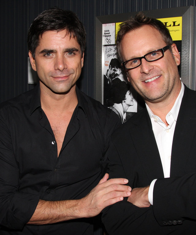 "NEW YORK - OCTOBER 26:  John Stamos and Dave Coulier (who co-starred in the TV Show ""Full House"") pose backstage at the hit musical ""Bye Bye Birdie"" on Broadway at The Henry Miller Theater on October 26, 2009 in New York City."