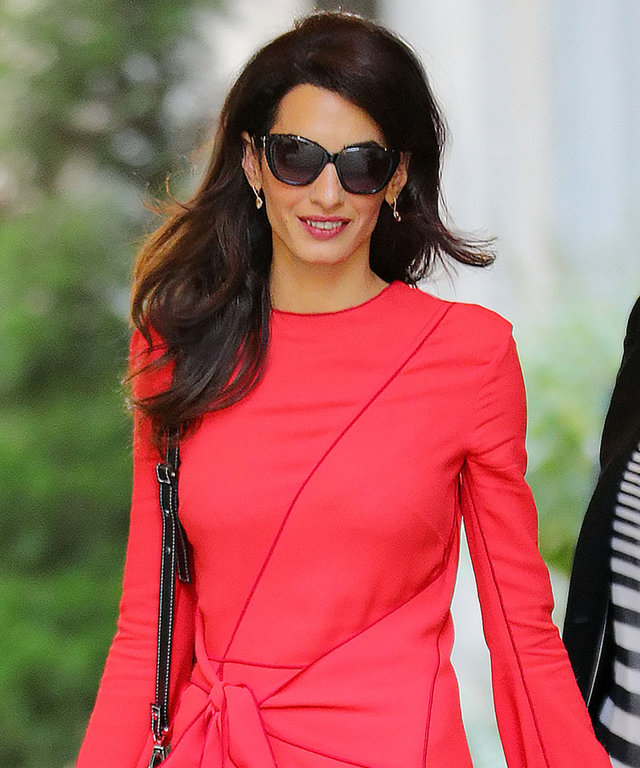 Amal Clooney Heats Up the N.Y.C. Streets in a Flirty Red Dress