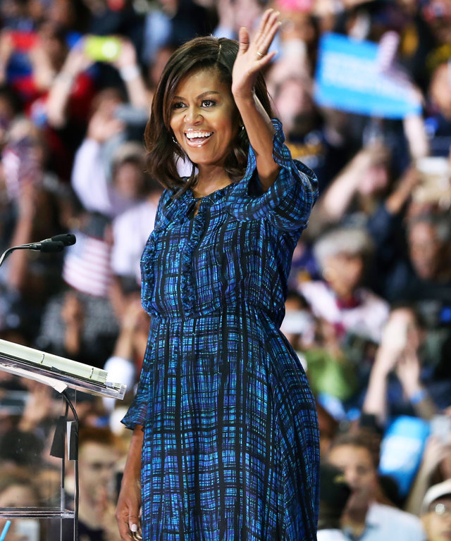 Michelle Obama Stumps for Hillary Clinton in a Chic Checkered Dress