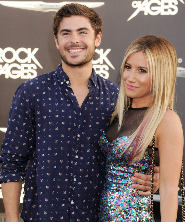 HOLLYWOOD, CA - JUNE 08:  Actors Zac Efron and Ashley Tisdale arrive at the 'Rock of Ages' Los Angeles premiere at Grauman's Chinese Theatre on June 8, 2012 in Hollywood, California.  (Photo by Gregg DeGuire/WireImage)