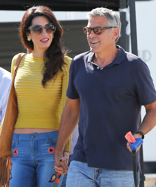 Amal Clooney Looks Like a '70s Goddess for a Visit to George Clooney's Set