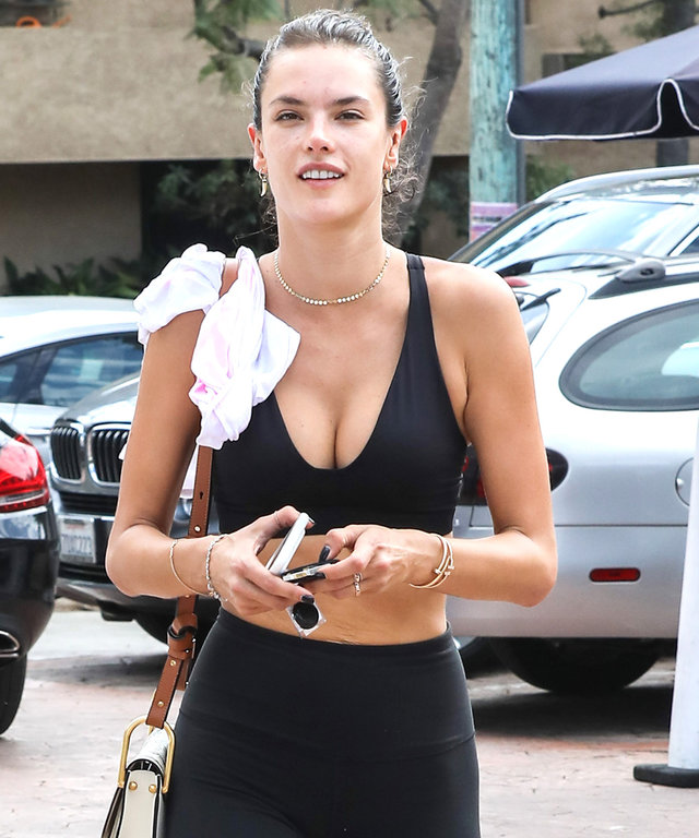 Alessandra Ambrosio Shows Off Her Impressive Abs in a Black Sports Bra Post-Workout