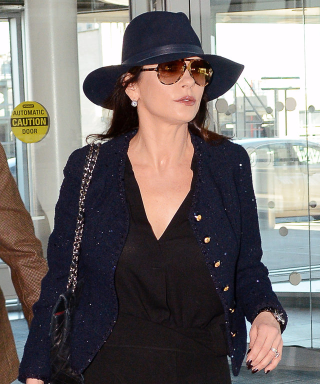 Catherine Zeta-Jones Embodies Hollywood Glamour at JFK Airport