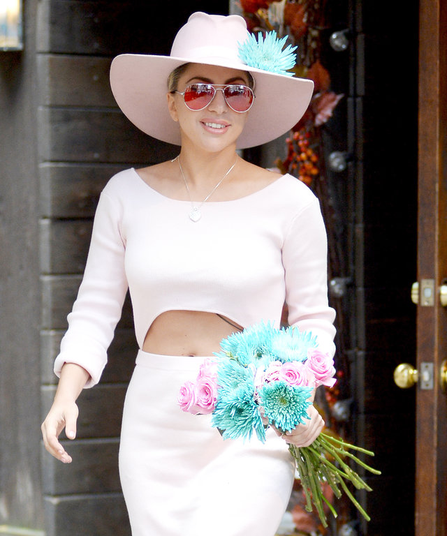 Lady Gaga Dons a Pale Pink Cutout Dress to Honor John Lennon at Strawberry Fields