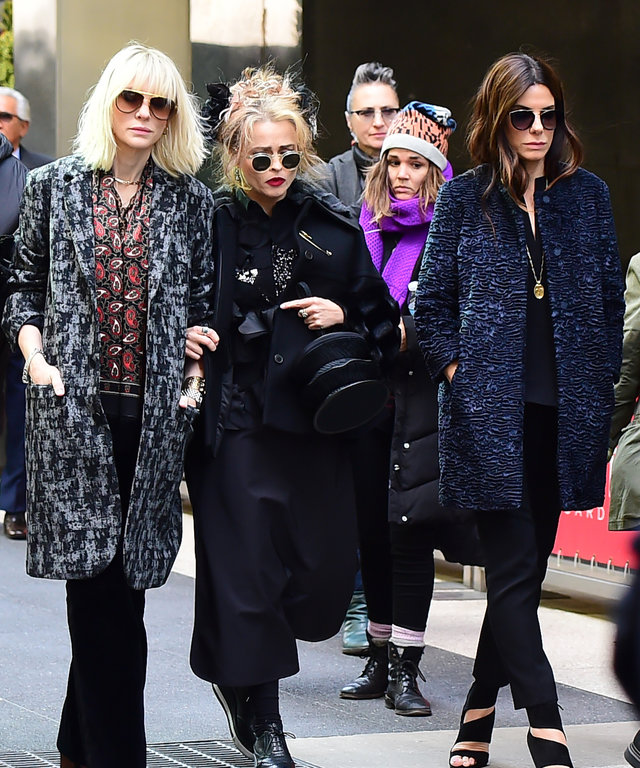 NEW YORK, NY - OCTOBER 26:  Actress Actress Cate Blanchett and Sandra Bullock and Helena Bonham Carter are seen on October 26, 2016 on the set of 'Ocean's 8'  on October 26, 2016 in New York City.  (Photo by Raymond Hall/GC Images)