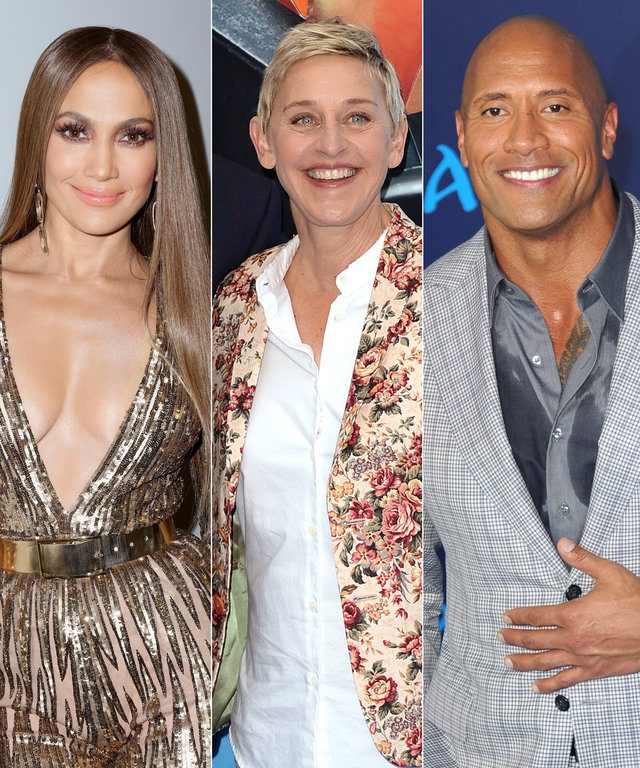 Jennifer Lopez, Ellen DeGeneres, and Dwayne Johnson
