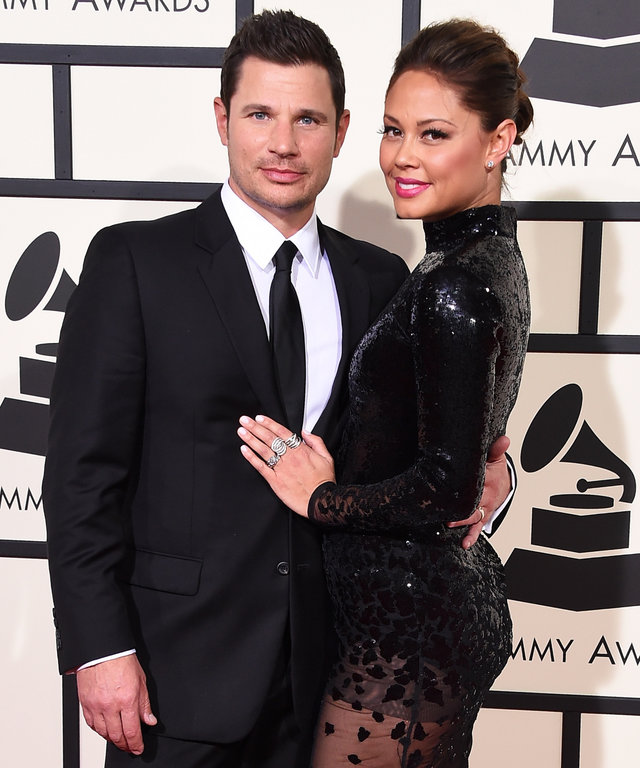 Recording artist/TV personality Nick Lachey (L) and TV personality Vanessa Lachey attend The 58th GRAMMY Awards at Staples Center on February 15, 2016 in Los Angeles, California.