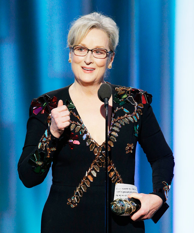 BEVERLY HILLS, CA - JANUARY 08: In this handout photo provided by NBCUniversal, Meryl Streep accepts  Cecil B. DeMille Award  during the 74th Annual Golden Globe Awards at The Beverly Hilton Hotel on January 8, 2017 in Beverly Hills, California.