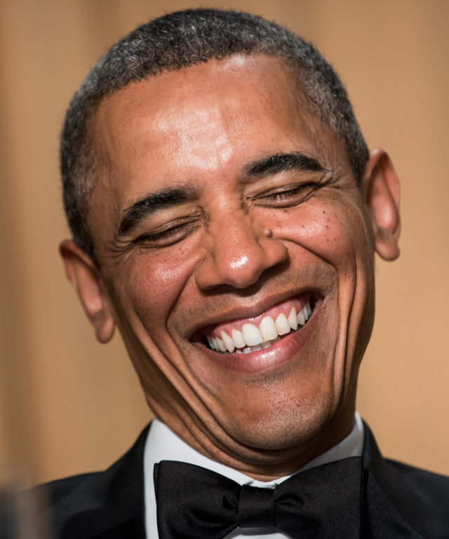 US President Barack Obama laughs during the White House Correspondents' Association Dinner April 27, 2013 in Washington, DC. Obama attended the yearly dinner which is attended by journalists, celebrities and politicians. AFP PHOTO/Brendan SMIALOWSKI