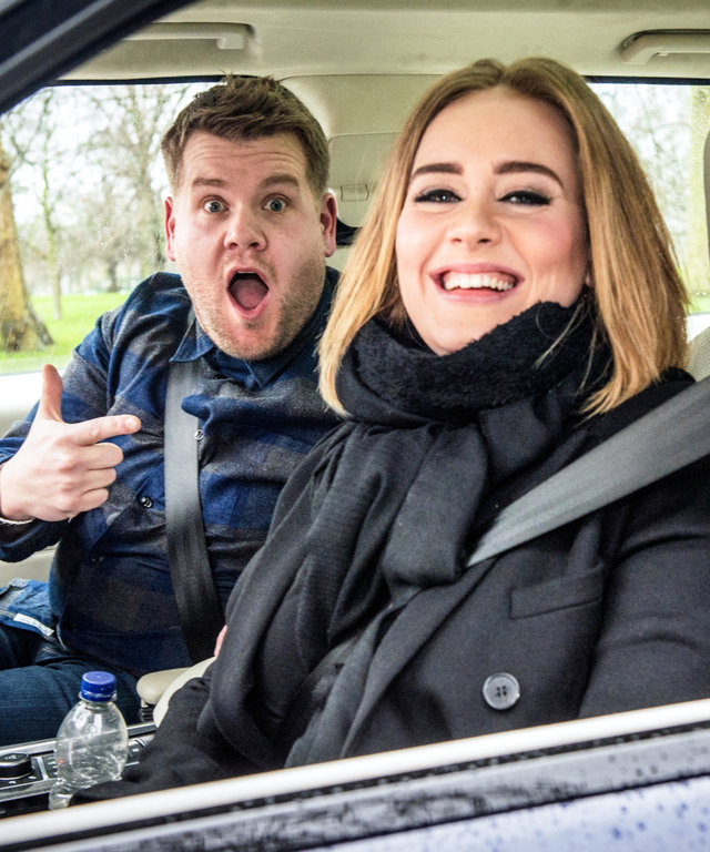 "LOS ANGELES - JANUARY 11: Adele joins James Corden for Carpool Karaoke on ""The Late Late Show with James Corden,"" Wednesday, January 13th, 2016 (12:37 -- 1:37 AM, ET/PT) on the CBS Television Network. (Photo by Craig Sugden/CBS via Getty Images)"
