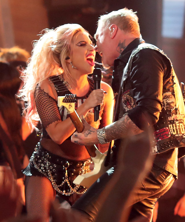 LOS ANGELES, CA - FEBRUARY 12:  Musicians James Hetfield of Metallica (R) and Lady Gaga perform onstage during The 59th GRAMMY Awards at STAPLES Center on February 12, 2017 in Los Angeles, California.  (Photo by Christopher Polk/Getty Images for NARAS)