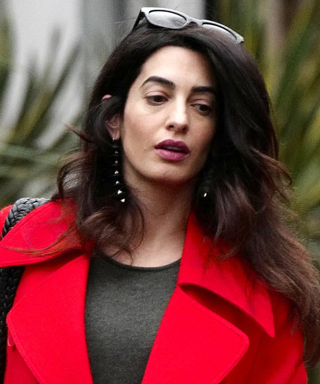Amal Clooney Debuts Her Baby Bump in a Red Hot Look