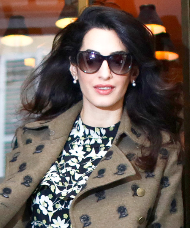 Pregnant Amal Clooney and Her Impossibly High Boots Tour Paris