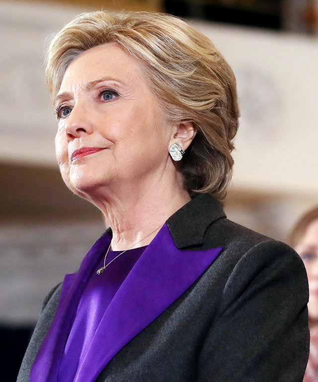 Former Secretary of State Hillary Clinton, accompanied by her husband former President Bill Clinton, concedes the presidential election at the New Yorker Hotel on November 9, 2016 in New York City.