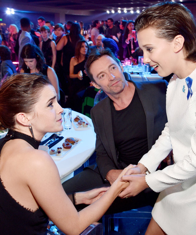 Actors Emma Watson, Hugh Jackman, and Millie Bobby Brown attend the 2017 MTV Movie And TV Awards at The Shrine Auditorium on May 7, 2017 in Los Angeles, California.