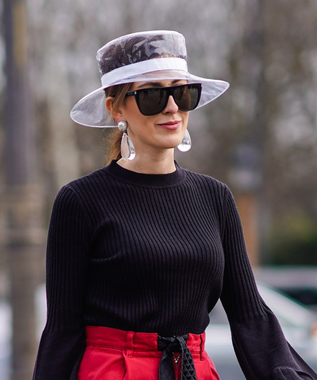 chanel clear plastic hat