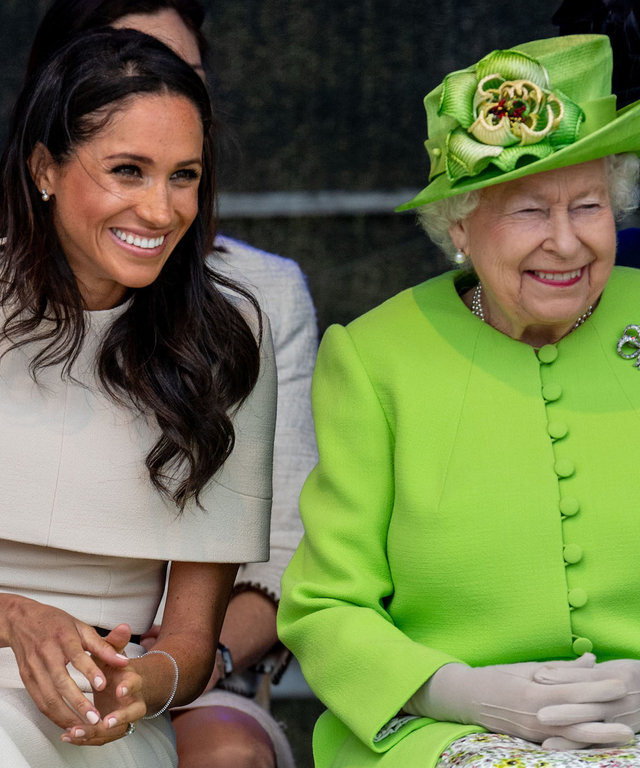 Queen Elizabeth and Meghan Markle giggling lead