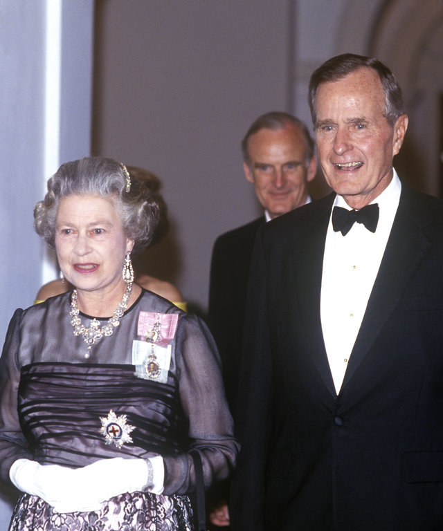 Queen Elizabeth and George HW Bush lead