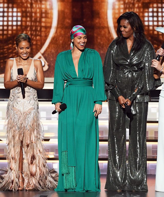 Jada Pinkett Smith, Jennifer Lopez, Michelle Obama, Lady Gaga, and Alicia Keys Grammys