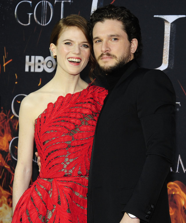 NEW YORK, NY - APRIL 3: Rose Leslie and Kit Harrington attend 'Game Of Thrones' New York Premiere at Radio City Music Hall, NYC on April 3, 2019 in New York City. (Photo by Paul Bruinooge/Patrick McMullan via Getty Images)