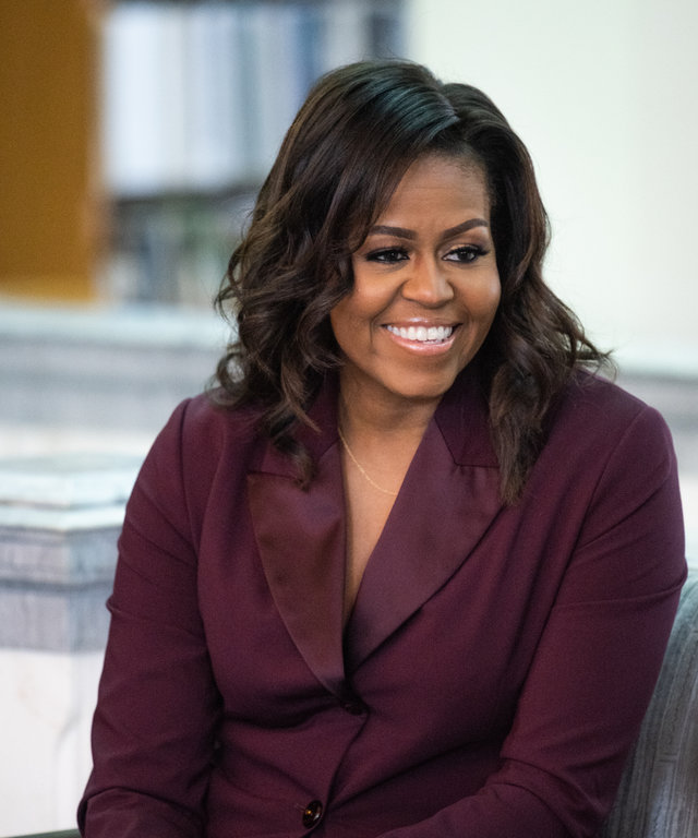 TACOMA, WASHINGTON - MARCH 24: Michelle Obama speaks with a local book group about her book 'Becoming' at the Tacoma Public Library main branch on March 24, 2019 in Tacoma, Washington. (Photo by Jim Bennett/Getty Images)