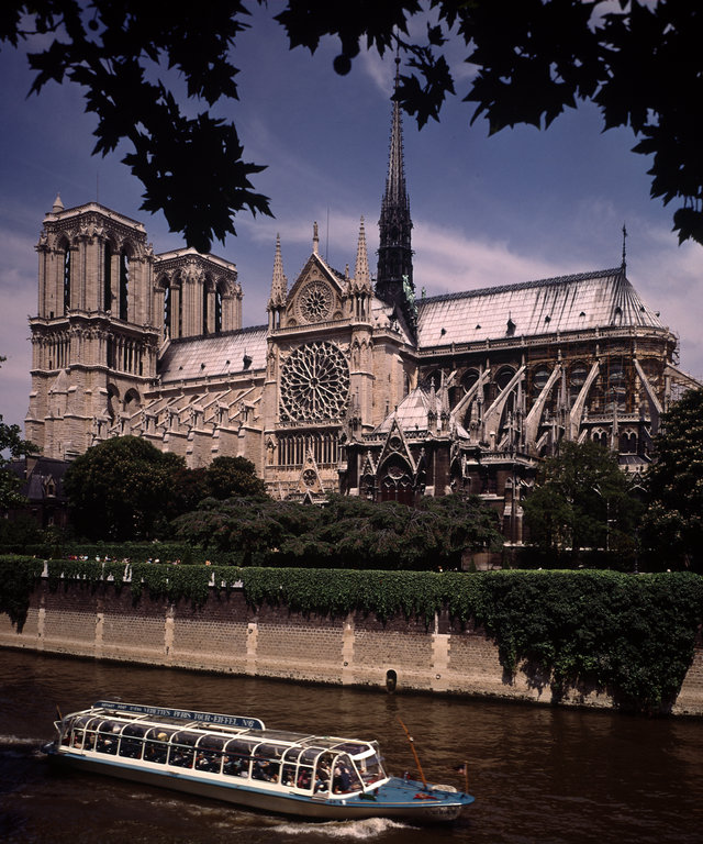 Notre Dame Cathedral as seen from the Seine with s