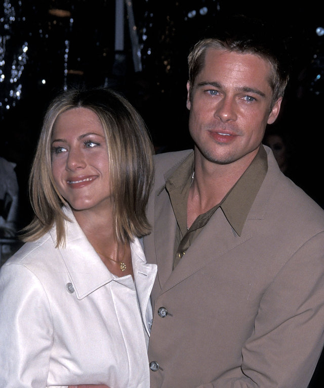 Actress Jennifer Aniston and actor Brad Pitt attend 'The Mexican' Westwood Premiere on February 23, 2001 at Mann National Theatre in Westwood, California. (Photo by Ron Galella, Ltd./WireImage)