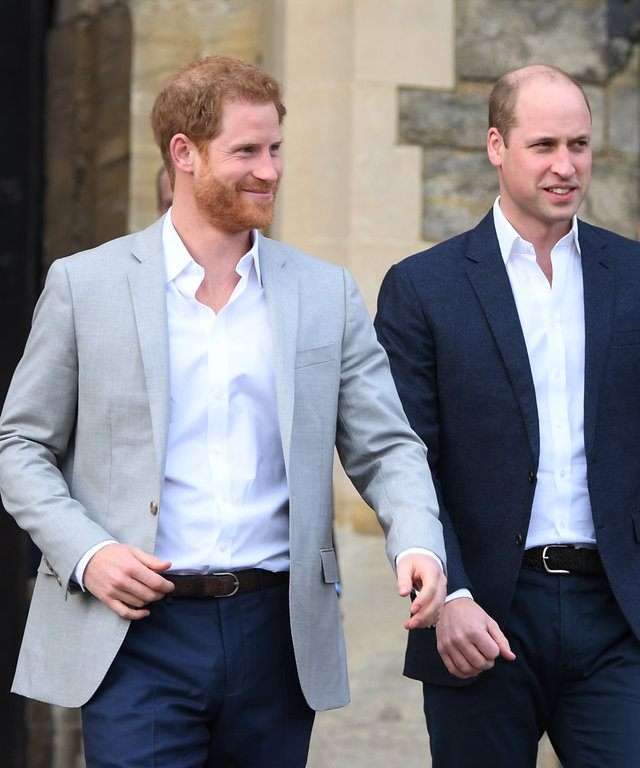 WINDSOR, ENGLAND - MAY 18:  (L-R) Prince Harry and  Prince William, Duke of Cambridge embark on a walkabout ahead of the royal wedding of Prince Harry and Meghan Markle on May 18, 2018 in Windsor, England.  (Photo by Shaun Botterill/Getty Images)