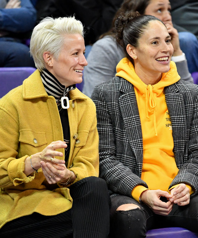 SEATTLE, WASHINGTON - JANUARY 27: Power couple, USWNT forward Megan Rapinoe and Seattle Storm guard Sue Bird enjoy the game at the Alaska Airlines Arena on January 27, 2019 in Seattle, Washington. (Photo by Alika Jenner/Getty Images)