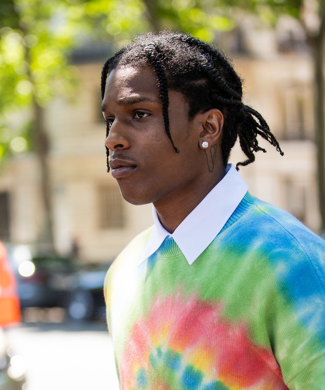 PARIS, FRANCE - JUNE 22: ASAP Rocky is seen wearing batik tshirt outside Loewe during Paris Fashion Week - Menswear Spring/Summer 2020 on June 22, 2019 in Paris, France. (Photo by Christian Vierig/Getty Images)