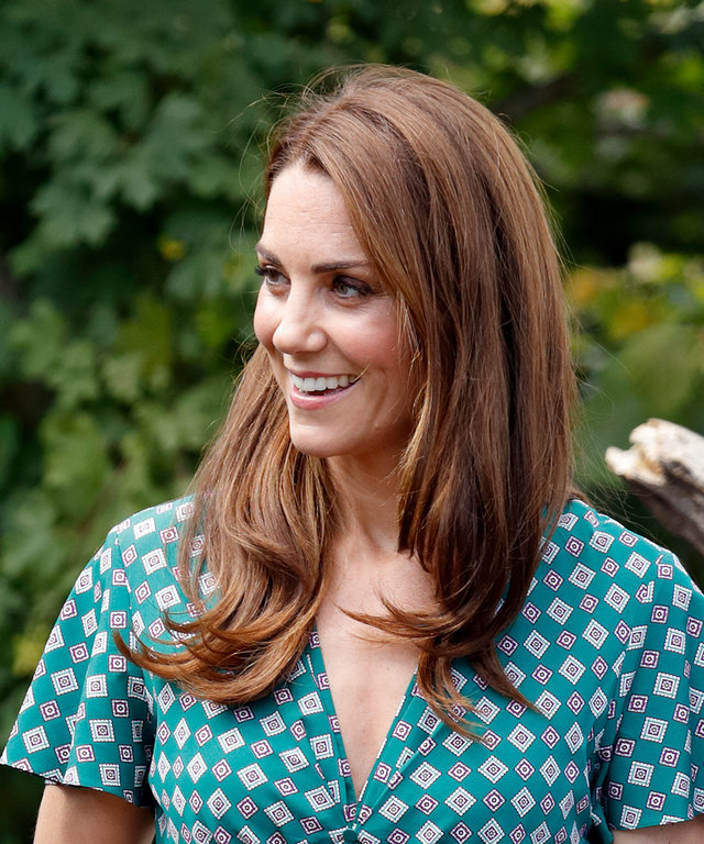 LONDON, UNITED KINGDOM - JULY 01: (EMBARGOED FOR PUBLICATION IN UK NEWSPAPERS UNTIL 24 HOURS AFTER CREATE DATE AND TIME) Catherine, Duchess of Cambridge visits the RHS Hampton Court Palace Garden Festival to view the RHS 'Back to Nature Garden' which...