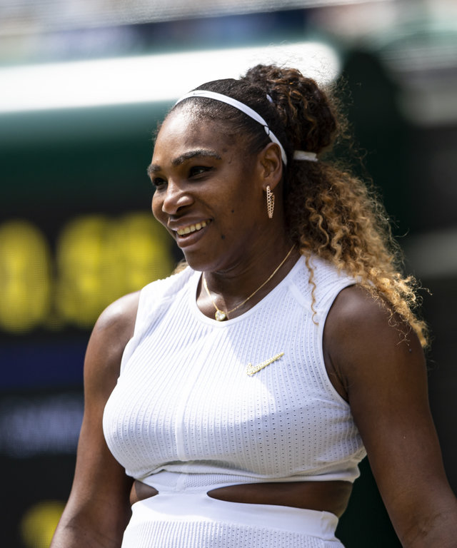 LONDON, ENGLAND - JULY 08: Serena Williams celebrates her victory over  Carla Suarez Navarro of Spain during Day 7 of The Championships - Wimbledon 2019 at All England Lawn Tennis and Croquet Club on July 08, 2019 in London, England. (Photo by TPN...
