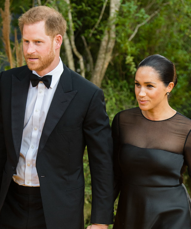 LONDON, ENGLAND - JULY 14: Prince Harry, Duke of Sussex and Meghan, Duchess of Sussex attend  The Lion King  European Premiere at Leicester Square on July 14, 2019 in London, England. (Photo by Samir Hussein/WireImage)