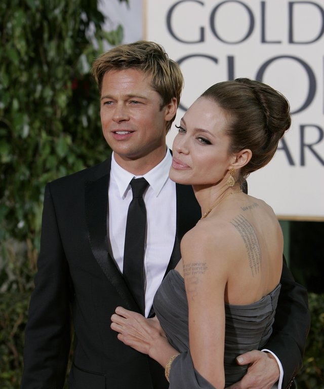 64th ANNUAL GOLDEN GLOBE AWARDS -- Pictured: (l-r) Brad Pitt and Angelina Jolie arrive at the 64th Annual Golden Globe Awards held at the Beverly Hilton Hotel on January 15, 2007 -- Photo by: Chris Haston/NBCU Photo Bank