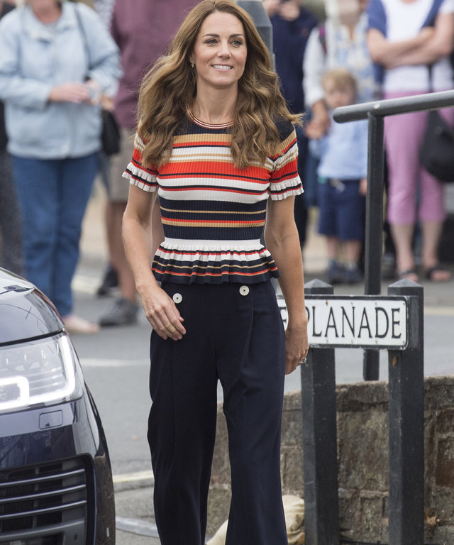 Kate Middleton in Superga Sneakers and Sandro Blouse