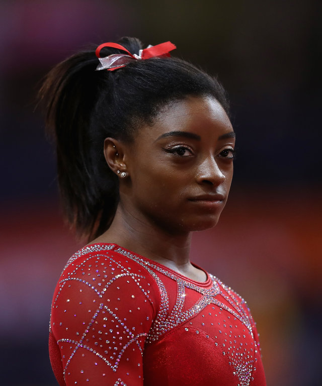 DOHA, QATAR - NOVEMBER 03:  Simone Biles of USA warms up as she prepares to compete during day ten of the 2018 FIG Artistic Gymnastics Championships at Aspire Dome on November 3, 2018 in Doha, Qatar.  (Photo by Francois Nel/Getty Images)