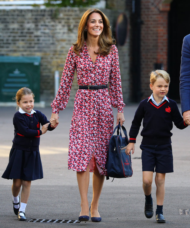 LONDON, UNITED KINGDOM - SEPTEMBER 5: Princess Charlotte arrives for her first day of school, with her brother Prince George and her parents the Duke and Duchess of Cambridge, at Thomas's Battersea in London on September 5, 2019 in London, England. ...