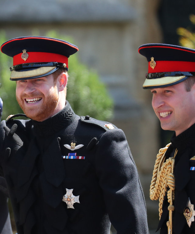 WINDSOR, UNITED KINGDOM - MAY 19:  Prince Harry (R) and his best man Prince William, Duke of Cambridge arrive at St George's Chapel at Windsor Castle for the wedding of Prince Harry and Meghan Markle in St George's Chapel at Windsor Castle on May 19,...